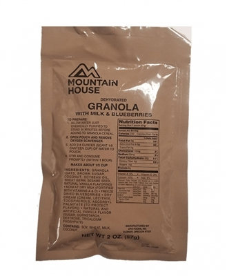 Mountain House Granola With Milk & Blueberries - Military Pouch
