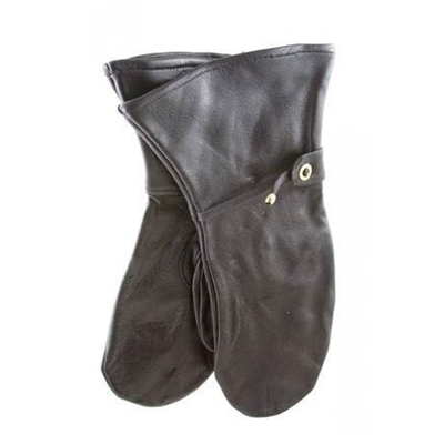 Swedish Black Leather Mittens (Used. Size Large).